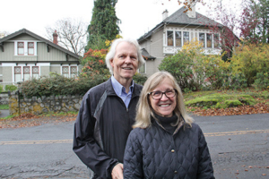 Christine van Reeuwyk/Oak Bay News Michael Prince and Karen Wallace-Prince propose Oak Bay designate their segment of Oak Bay (thier home behind on the right) as a Heritage Conservation Area.